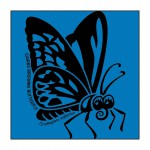 Butterfly on Bright-Blue T-Shirt