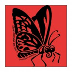 Butterfly on Bright-Red T-Shirt