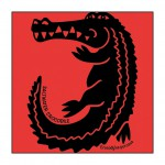 Crocodile on Bright-Red T-Shirt