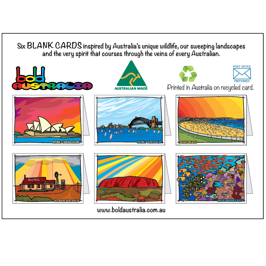 Pack Of 6 Mixed Australian Landmark Cards Bold Australia