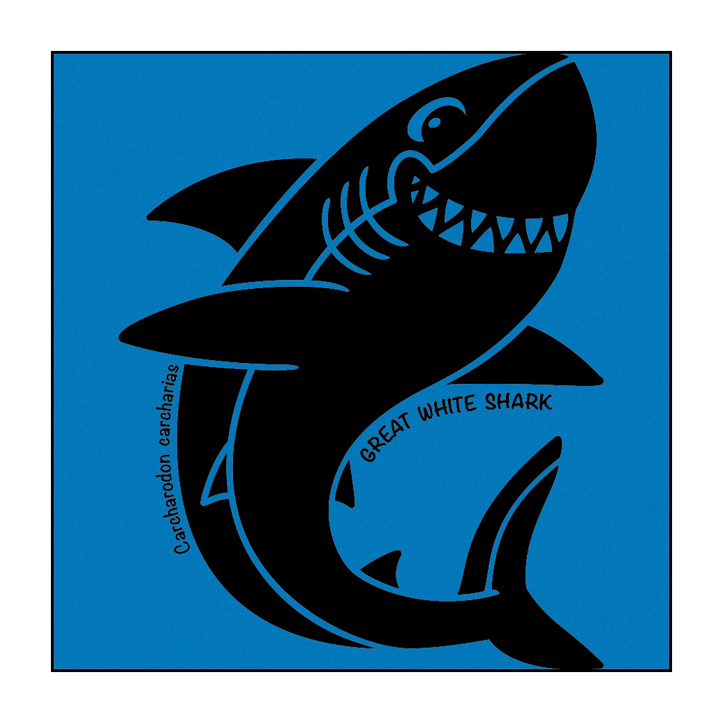 Shark on Bright-Blue T-Shirt